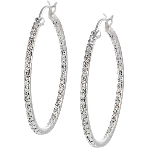 Brinley Co. CZ Sterling Silver Hoop Earrings