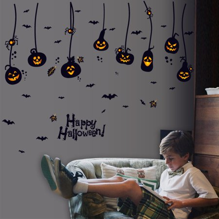 Halloween Wall Stickers Scary Witch Pumpkin Wall Decals Removable Vinyl Mural Home Decor Specification:60 * 90cm