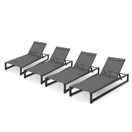 - Moderna Outdoor Aluminum Framed Chaise Lounge with Grey Mesh Body, Set of 4, Black