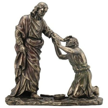 10.38 Inch Jesus Healing Blind Man Cold Cast Bronze - Jesus Heals Blind Man