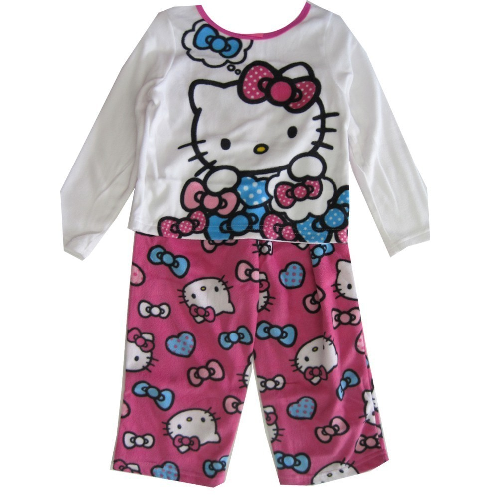 Hello Kitty Little Girls Fuchsia Kitty Image Bow Print 2 Pc Pajama Set 2T-4T