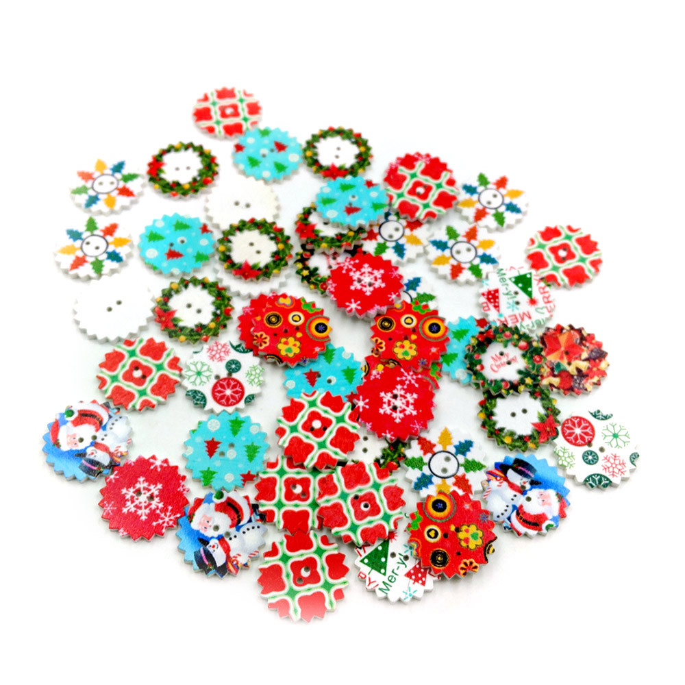 Wooden Flowers buttons Sewing Crafts Mixed color decoration Scrapbooking 25mm