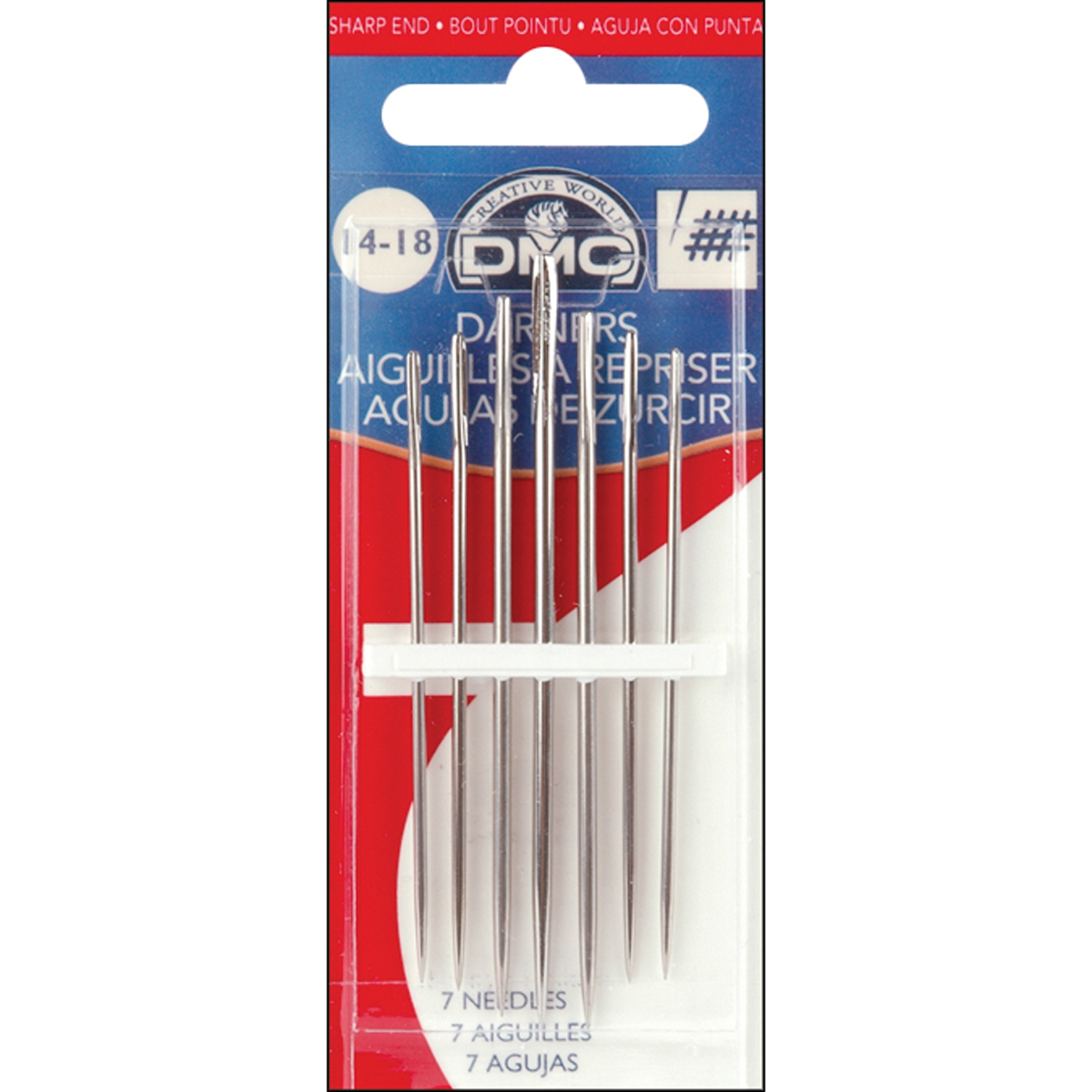 DMC 1769-18 Darners Hand Needles, 6-Pack, Size 18 Multi-Colored