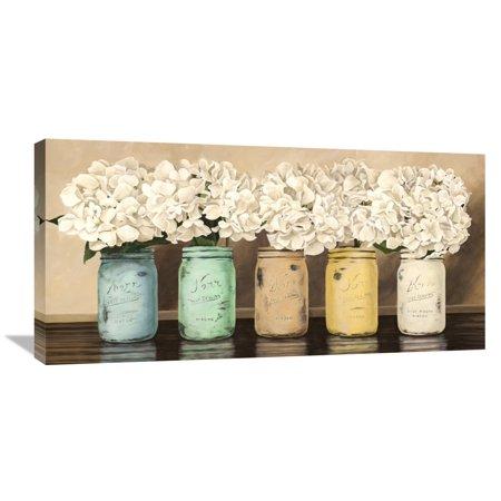 Mason Jar Art (Global Gallery Jenny Thomlinson 'Hydrangeas in Mason Jars' Canvas Wall)