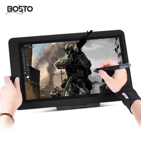 """Image of """"BOSTO 13HD 13"""""""" IPS 1920 * 1080 Graphics Drawing Tablet Board Kit 2048 Pressure Level 2 in 1 Fast Transmission Cable 8 Shortcuts w/ Rechargeable Pen/ 20pcs Refill/ 8GB USB Dish/ Glove/ Cleaning Cloth/"""""""