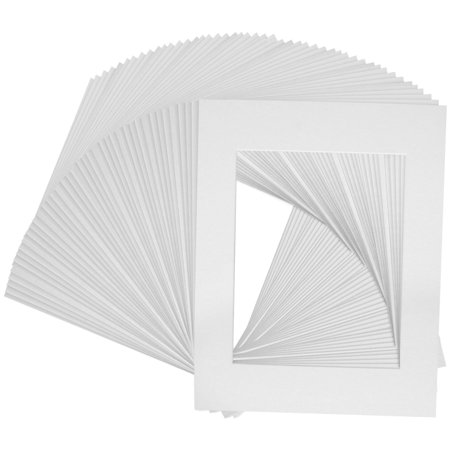 Art Mats Brand Premier Acid-Free Pre-Cut 8x10 White Picture Mat Matte Face Frames. Includes a Pack of 50 White Core Bevel Cut Matte Frames for 5x7 Photos, Set of.., By US Art Supply,USA