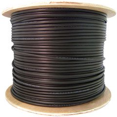 2 Fiber Indoor/Outdoor Fiber Optic Cable, Multimode 50/125 OM3, Plenum Rated, Black, Spool, 1000ft