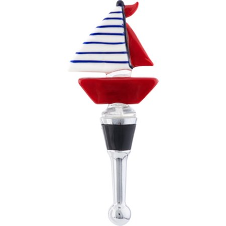 Ahoy Mate Red White and Blue Sailboat Glass Art Wine Bottle Stopper Topper
