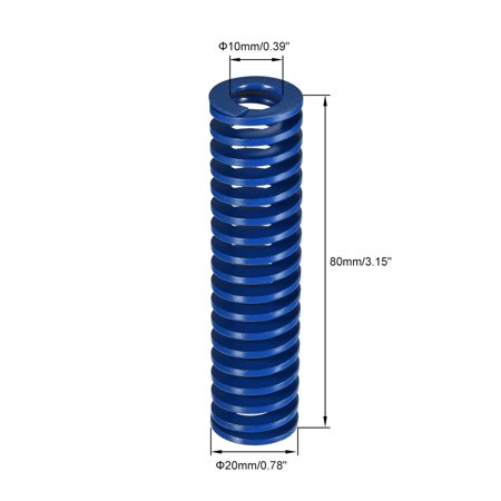 20mm OD 80mm Long Spiral Stamping Light Load Compression Mould Die Spring Blue 1Pcs - image 1 de 2