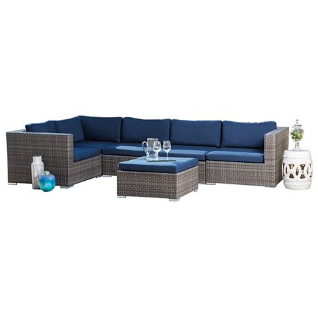 Phenomenal Abbyson Living Newport 6 Piece Wicker Patio Sectional In Gray And Navy Alphanode Cool Chair Designs And Ideas Alphanodeonline