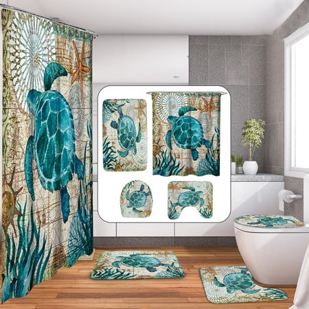 4Pcs Bathroom Set Non-Slip Pedestal Rug + Lid Toilet Seat Cover + Bath Mat Doormat + Waterproof Shower Curtain + 12 Hooks Sea Turtles Style Home Decor