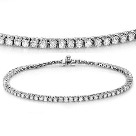 Dazzlingrock Collection 1.50 Carat (ctw) 14K Round Cut Real Diamond Ladies Tennis Bracelet 1 1/2 CT, White (Ladies Round Diamond Tennis Bracelet)