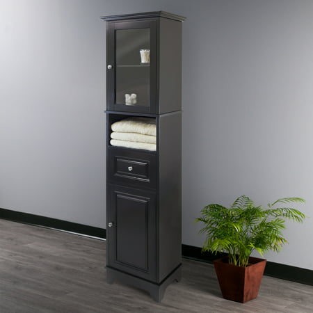 Winsome Wood Alps Tall Cabinet with Glass Door, Black Finish ()