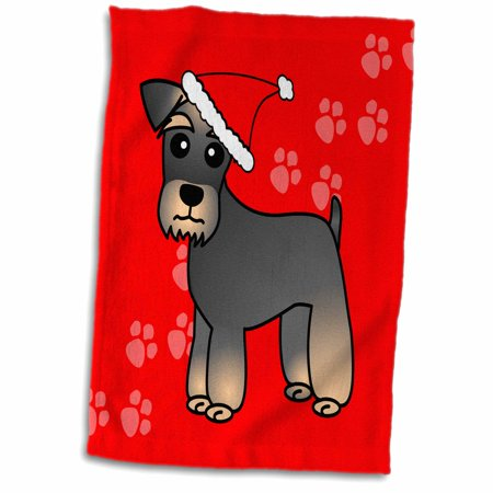 3dRose Miniature Schnauzer Banded Brown Base Coat (Salt and Pepper) - Cartoon Dog - Green with Santa Hat - Towel, 15 by 22-inch