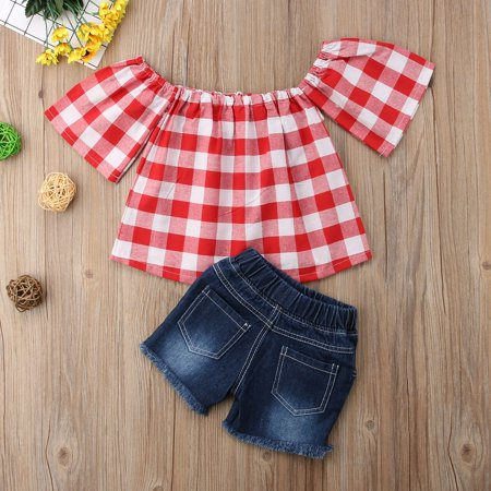 Hot fashion Toddler Kids Baby Girl Lace Top T-shirt + Denim Shorts Clothes Summer Outfit Set