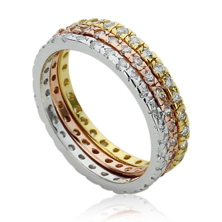 Women's Sterling Silver Rose Tone 2mm CZ Eternity 3 Pieces Stackable Wedding Bands Engagement