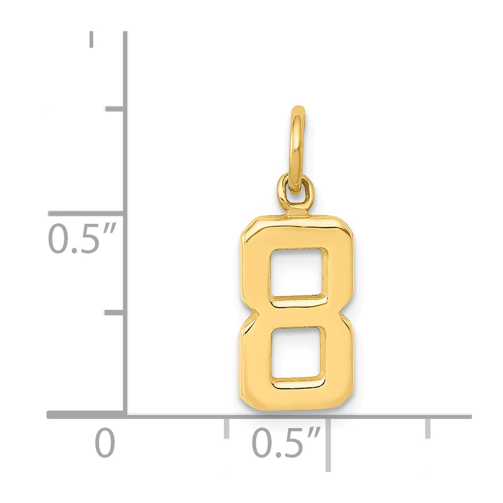 20mm x 7mm Solid 14k Yellow Gold Casted Small Diamond-Cut Number 8 Charm Pendant