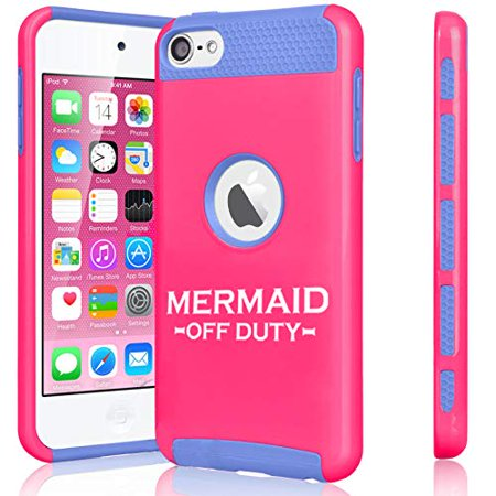 Off Apple Ipod - Shockproof Impact Hard Soft Case Cover for Apple (iPod Touch 5th / 6th) Mermaid Off Duty (Hot Pink-Blue)