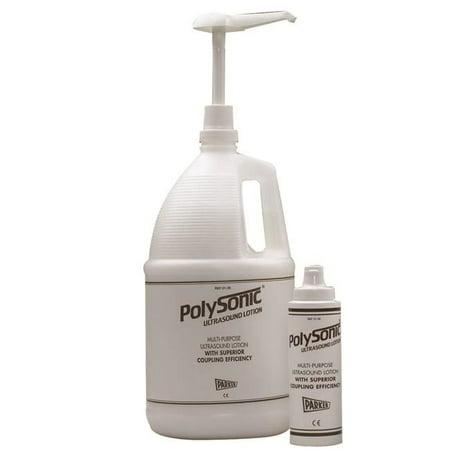 Polysonic ultrasound lotion, 1 gallon jug w/8.5 oz refillable dispenser bottle, 4 -