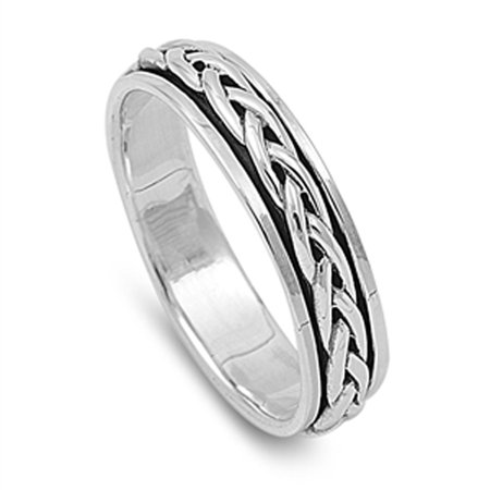Men's Spinner Celtic Design Promise Ring ( Sizes 4 5 6 7 8 9 10 11 12 13 14 ) New 925 Sterling Silver Band Rings by Sac Silver (Size 14)