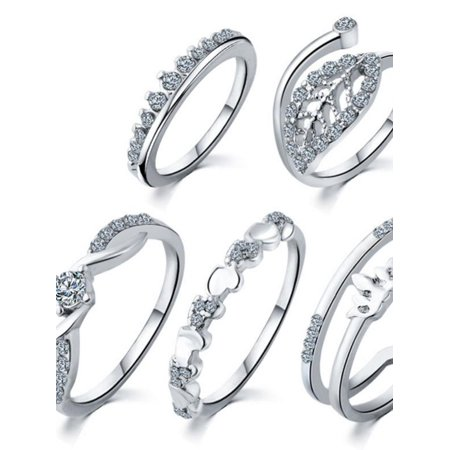 5pcs/lot Hot Crystal Leaf Crown Wedding Ring Set Midi Knuckle Ring Sets Heart  Fingers Toes Women Jewelry Gifts
