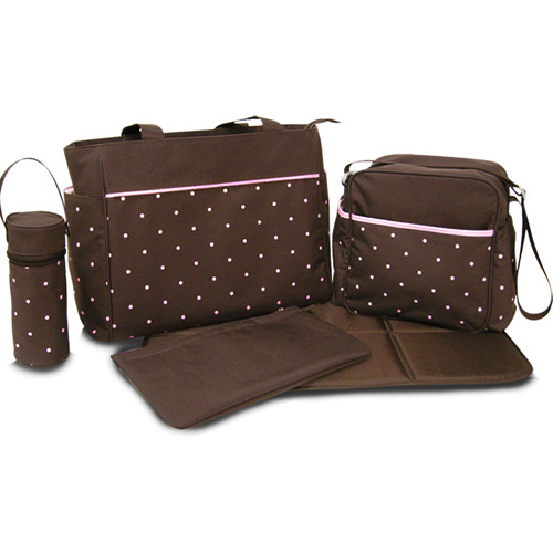 Pretty Baby - 5-in-1 Diaper Bag, Pink and Brown Dot