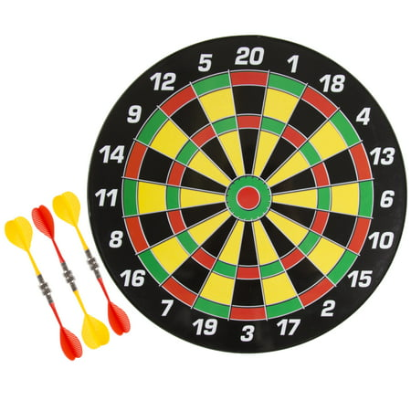 Magnetic Dart Board Set with 16 inch Board, 6 Colorful Darts and Built In Hanging Hook - Safe Dartboard with Darts for kids and Adults by Hey!