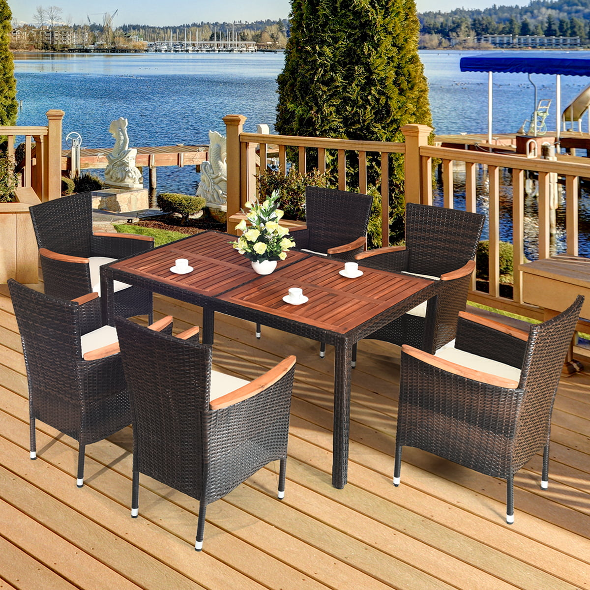 Costway 7pcs Patio Rattan Dining Set 6 Stackable Chairs Cushioned Walmart Canada