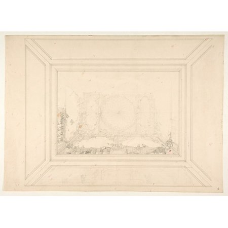 Design for a ceiling decorated with trellis work and a trompe loeil balustrade Poster Print by Jules-Edmond-Charles Lachaise (French died 1897) (18 x 24)