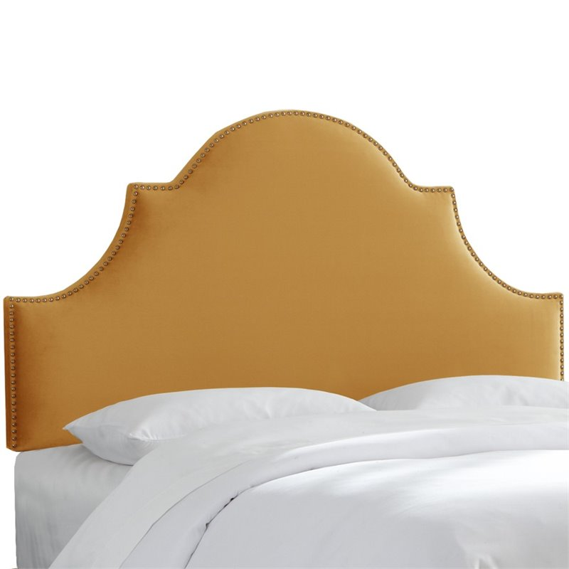 Skyline Furniture Upholstered Queen Panel Headboard in Mystere Amber