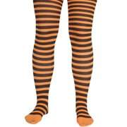 Star Power Halloween Striped Pantyhose, Black Orange, One-Size