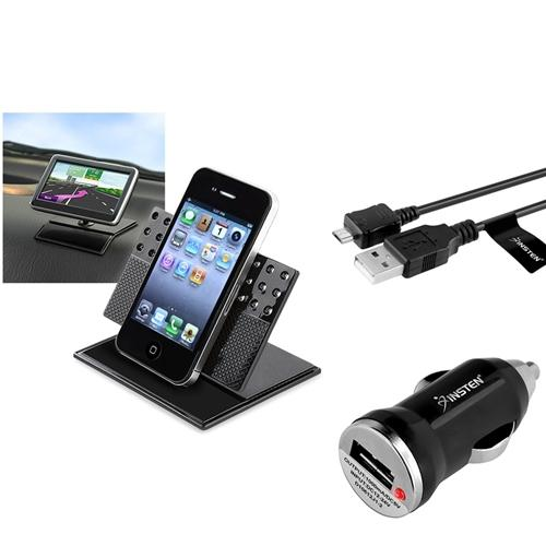 Insten 3in1 Dashboard Mount Black Mini Car Charger for Samsung Galaxy SIII S 3 S3 S4 SIV i9500 LG Nexus 5 HTC One M7