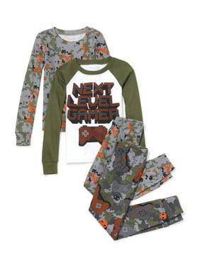Long Sleeve 'Next Level Gamer' Camo Printed 4 Piece Pajama Set (Little Boy & Big Boy)