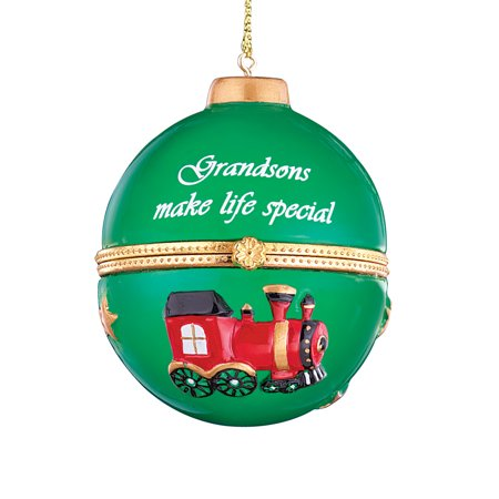 Holiday Sentiment Trinket Ornaments with Heartwarming Quote and Gold Hanger - Compartment Inside for Small