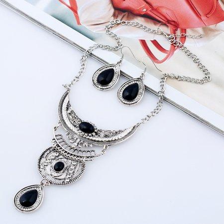 Women Vintage Boho Jewelry Set Multilayer Alloy Gemstone Pendant Bib Statement Necklace and Earrings Set - image 7 of 8