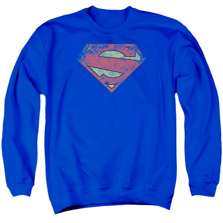 SUPERMAN/NEW 52 SHIELD - ADULT CREWNECK SWEATSHIRT - ROYAL BLUE - 2X