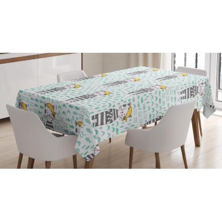 Kids Boys Tablecloth, Kittens with Bandana on Pastel Toned Fishes and Waves Background, Rectangular Table Cover for Dining Room Kitchen, 52 X 70 Inches, Pale Green Grey and Yellow, by Ambesonne