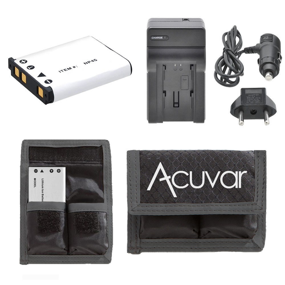 NP-45 Li-Ion Battery + Car/Home Charger for Fujifilm FinePix + Acuvar Battery Pouch