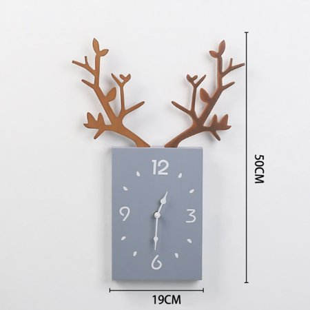 Wooden Antler Wall Clock Nordic Style Wall Decoration Clock For Living Room Bedroom Office Batteries Not Included Walmart Canada