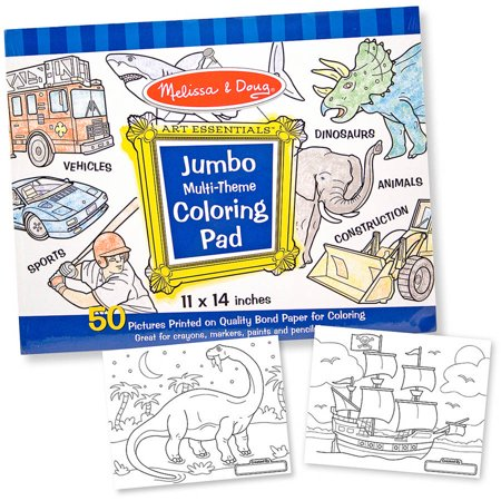 Melissa & Doug Jumbo 50-Page Kids\' Coloring Pad - Space, Sharks ...