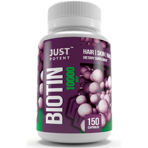 Just Potent Biotin Supplement For Hair, Skin, and Nails :: 10000 MCG :: 150 Capsules :: 5 Month Supply