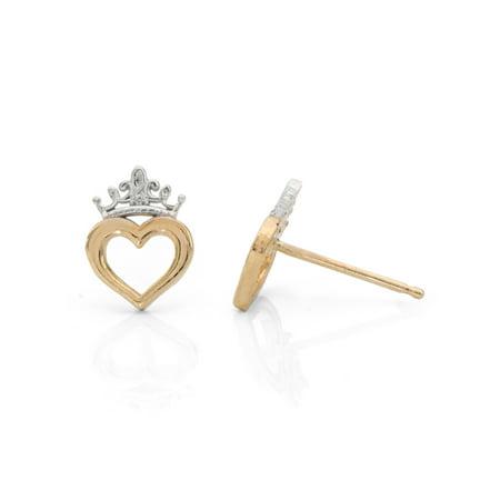 Disney Princess 10kt Yellow Gold Heart Crown Stud Earrings - Heart Crown Dangle