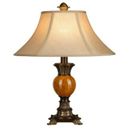 Home Source Industries LMP109 Traditional Table Lamp with Antique Gold Finish and Linen Fabric Shade, 24-Inch Tall