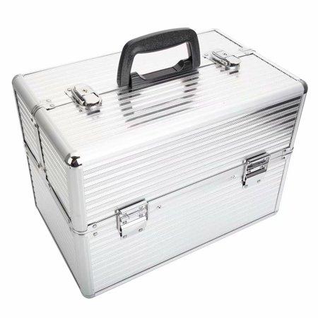 Handy Stylish Three Stripes Aluminum Makeup Storage Box with Keys