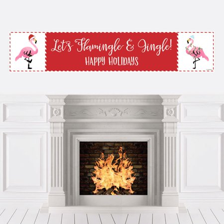 Flamingle Bells - Tropical Flamingo Christmas Party Decorations Party (Banner Bells)