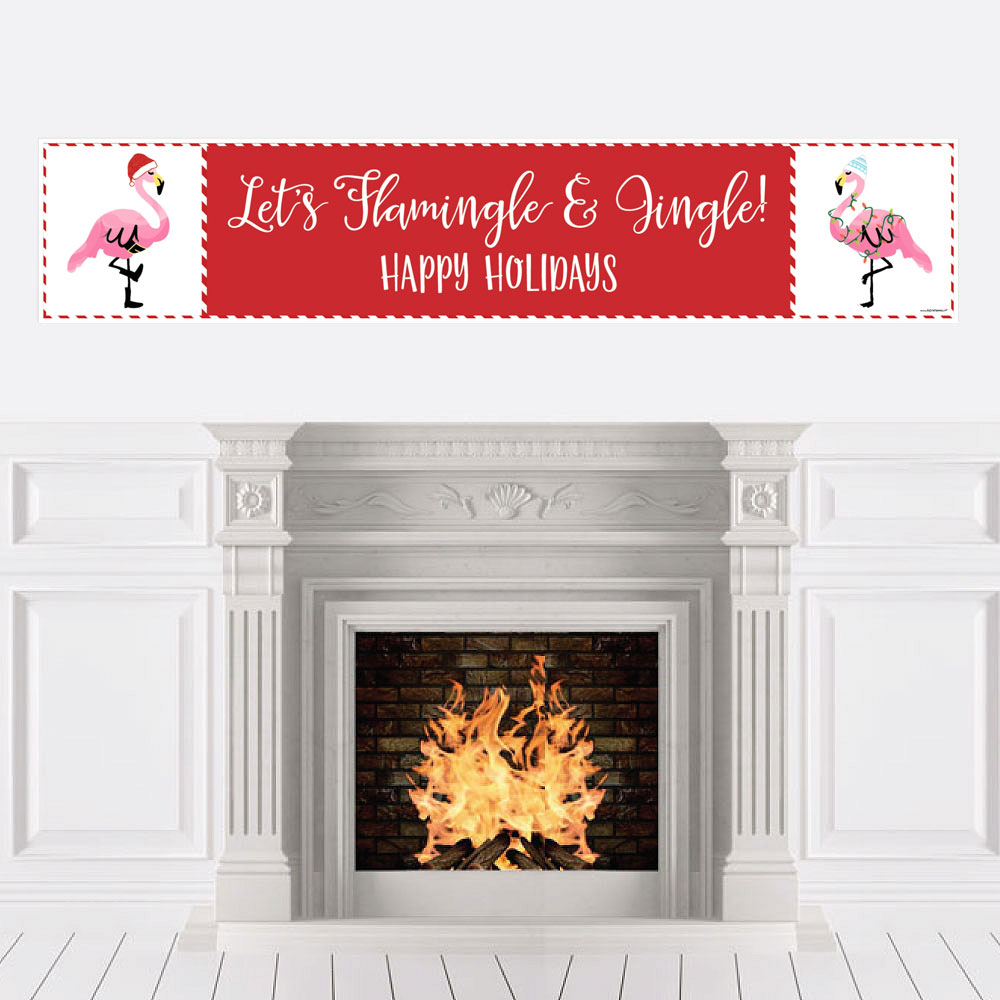Flamingle Bells - Tropical Flamingo Christmas Party Decorations Party Banner