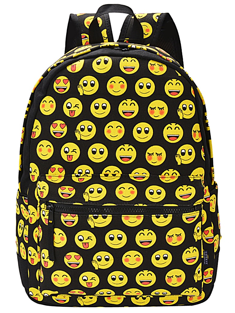 Canvas Backpack, Cute Emoji Expression School Bag Canvas Double Strap Shoulder Backpack for Girls Boys