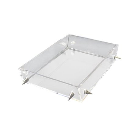 R16 Home Furniture LST01-CS Lucite Small Stud Tray, Clear & Silver - image 1 of 1