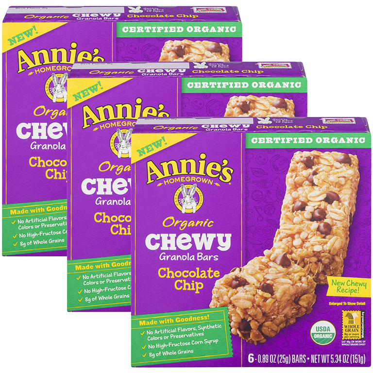 (3 Pack) Annie's Organic Chewy Chocolate Chip Granola Bars 6 Ct, 5.34 oz