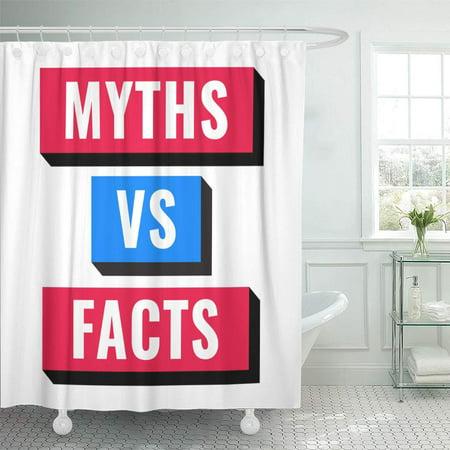 CYNLON Deceit Versus Myths Vs Facts on White Character Deception Bathroom Decor Bath Shower Curtain 66x72 inch ()
